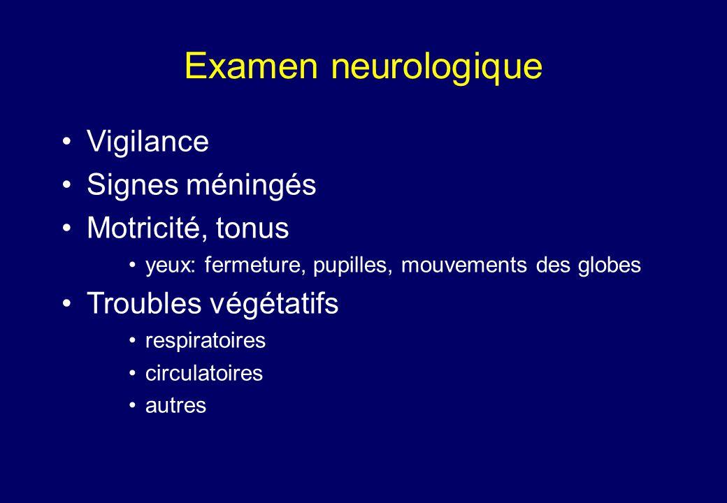 Examen neurologique •Vigilance •Signes méningés •Motricité, tonus •yeux: fermeture, pupilles, mouvements des globes •Troubles végétatifs •respiratoires •circulatoires •autres
