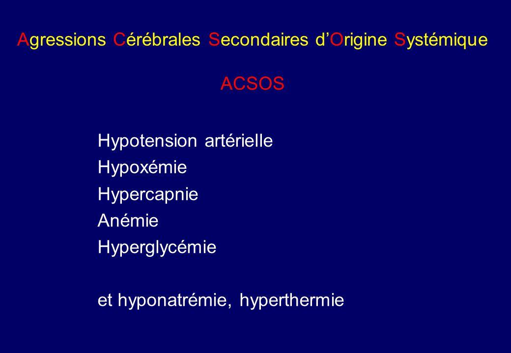 Agressions Cérébrales Secondaires d'Origine Systémique ACSOS Hypotension artérielle Hypoxémie Hypercapnie Anémie Hyperglycémie et hyponatrémie, hyperthermie