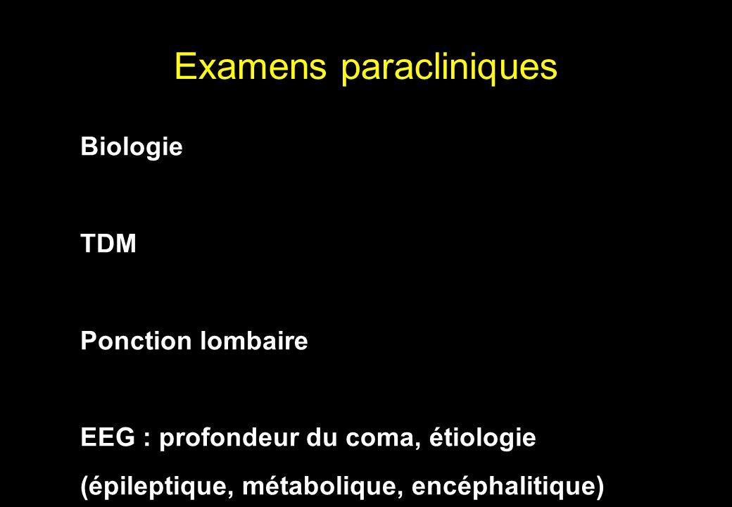 Biologie TDM Ponction lombaire EEG : profondeur du coma, étiologie (épileptique, métabolique, encéphalitique) Examens paracliniques