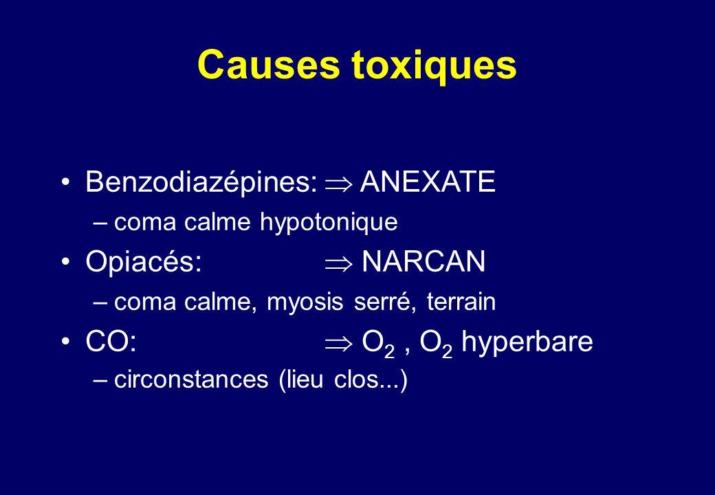 Causes toxiques •Benzodiazépines:  ANEXATE –coma calme hypotonique •Opiacés:  NARCAN –coma calme, myosis serré, terrain •CO:  O 2, O 2 hyperbare –circonstances (lieu clos...)