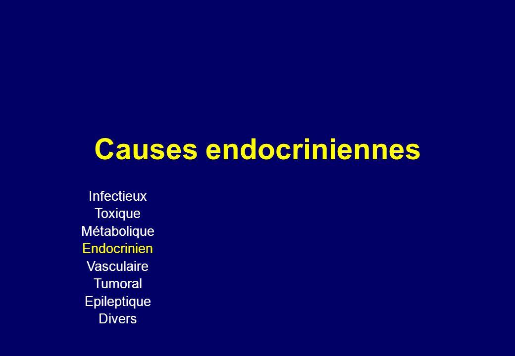 Causes endocriniennes Infectieux Toxique Métabolique Endocrinien Vasculaire Tumoral Epileptique Divers