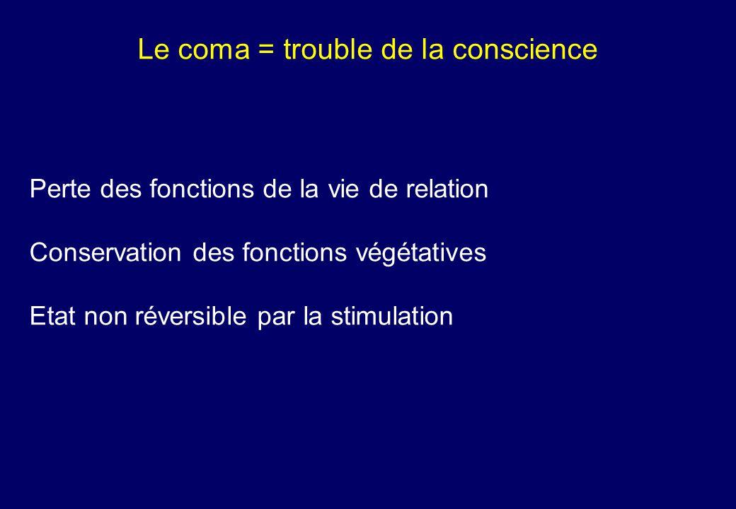 Le coma = trouble de la conscience Perte des fonctions de la vie de relation Conservation des fonctions végétatives Etat non réversible par la stimulation