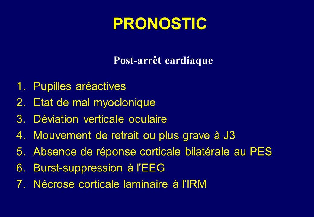 PRONOSTIC 1.Pupilles aréactives 2.Etat de mal myoclonique 3.Déviation verticale oculaire 4.Mouvement de retrait ou plus grave à J3 5.Absence de réponse corticale bilatérale au PES 6.Burst-suppression à l'EEG 7.Nécrose corticale laminaire à l'IRM Post-arrêt cardiaque