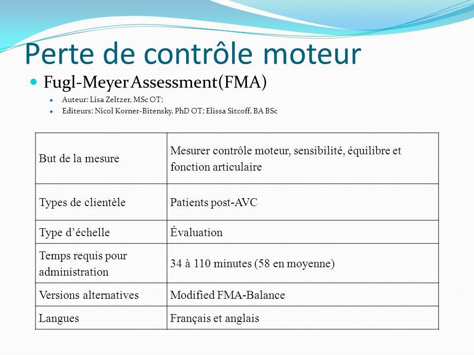 Perte de contrôle moteur  Fugl-Meyer Assessment(FMA)  Auteur: Lisa Zeltzer, MSc OT;  Editeurs: Nicol Korner-Bitensky, PhD OT; Elissa Sitcoff, BA BS
