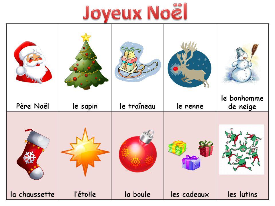 Père Noëlle sapinle traîneaule renne le bonhomme de neige la chaussettel'étoilela bouleles cadeauxles lutins