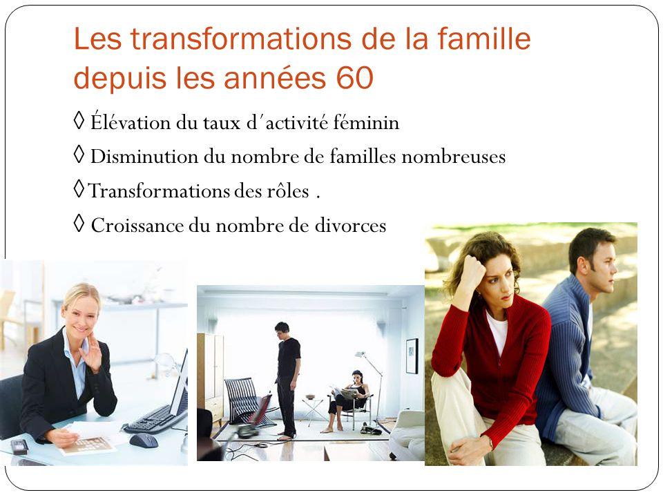 Les transformations de la famille depuis les années 60 ◊ Élévation du taux d´activité féminin ◊ Disminution du nombre de familles nombreuses ◊ Transfo