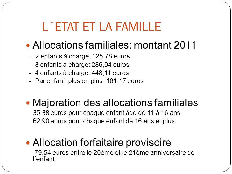 L´ETAT ET LA FAMILLE  Allocations familiales: montant 2011 - 2 enfants à charge: 125,78 euros - 3 enfants à charge: 286,94 euros - 4 enfants à charge