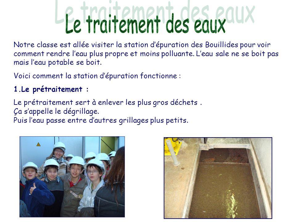 Notre classe est allée visiter la station d'épuration des Bouillides pour voir comment rendre l'eau plus propre et moins polluante. L'eau sale ne se b