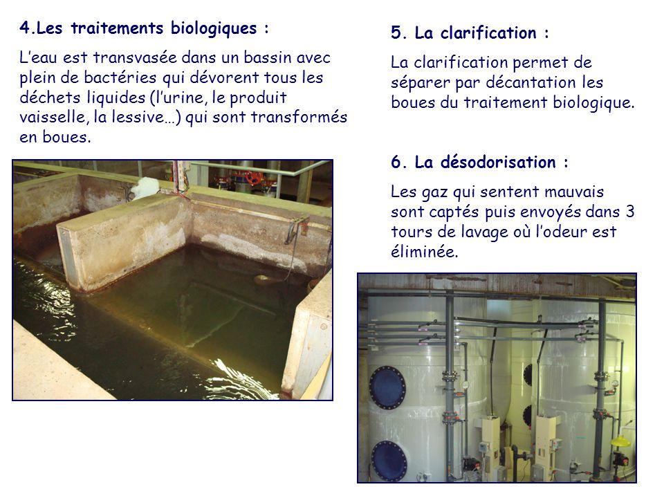 4.Les traitements biologiques : L'eau est transvasée dans un bassin avec plein de bactéries qui dévorent tous les déchets liquides (l'urine, le produi