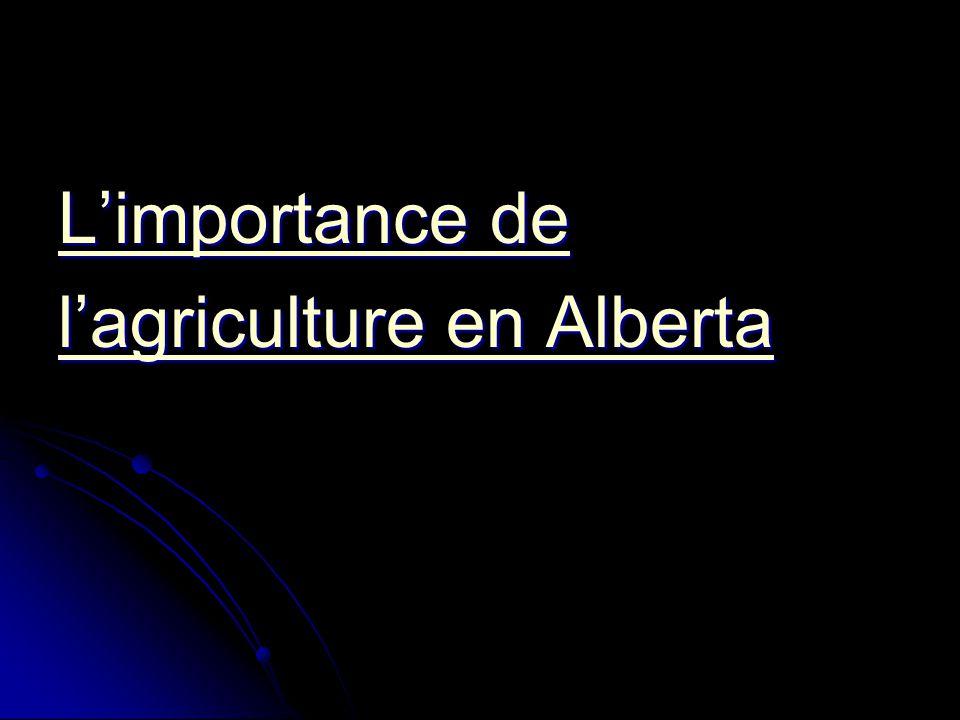 L'importance de L'importance de l'agriculture en Alberta l'agriculture en Alberta