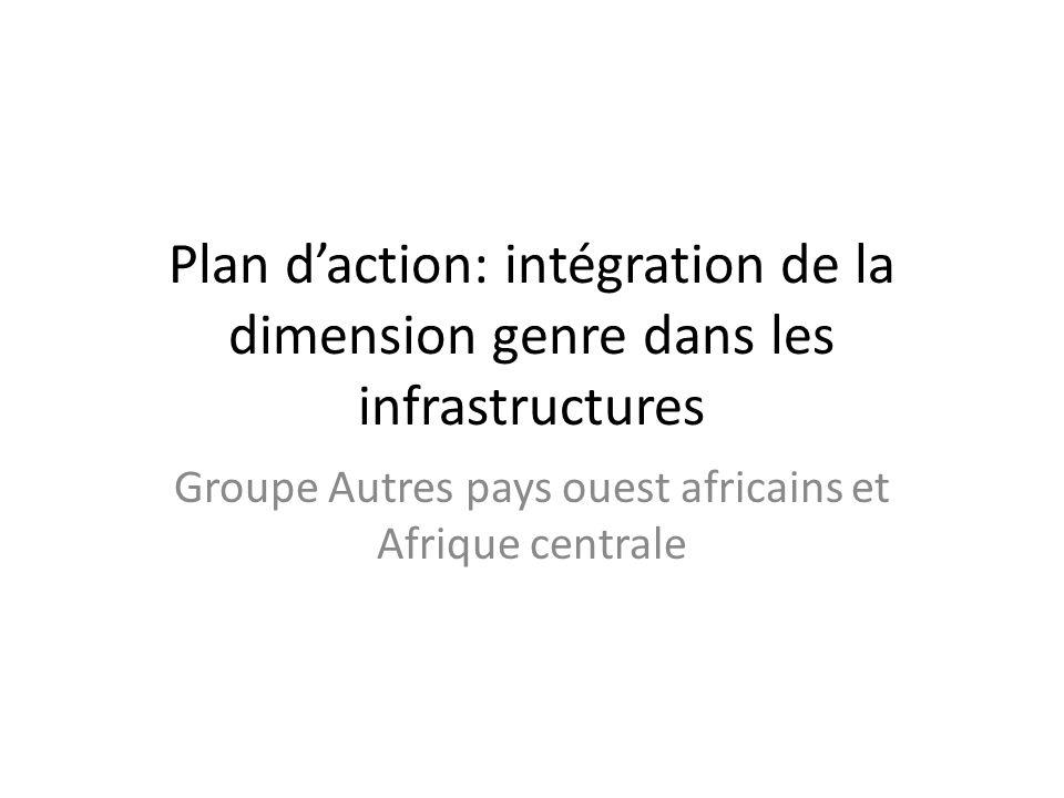 Plan d'action: intégration de la dimension genre dans les infrastructures Groupe Autres pays ouest africains et Afrique centrale