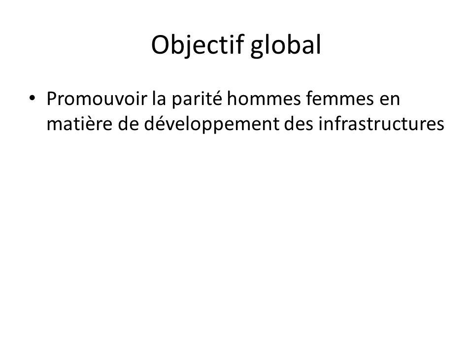 Objectif global • Promouvoir la parité hommes femmes en matière de développement des infrastructures