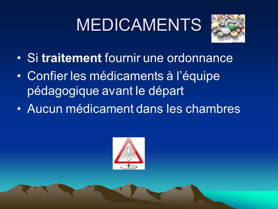 MEDICAMENTS •Si traitement fournir une ordonnance •Confier les médicaments à l'équipe pédagogique avant le départ •Aucun médicament dans les chambres