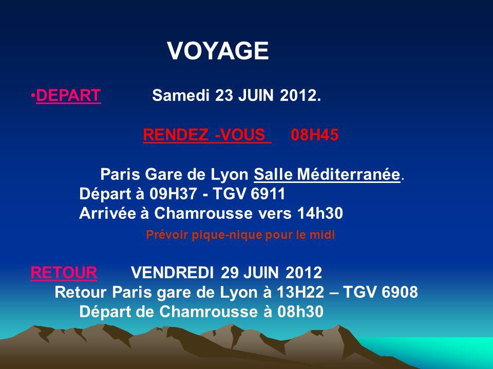 VOYAGE •DEPART Samedi 23 JUIN 2012. RENDEZ -VOUS 08H45 Paris Gare de Lyon Salle Méditerranée. Départ à 09H37 - TGV 6911 Arrivée à Chamrousse vers 14h3