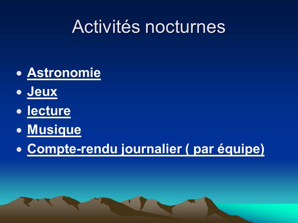 Activités nocturnes  Astronomie  Jeux  lecture  Musique  Compte-rendu journalier ( par équipe)