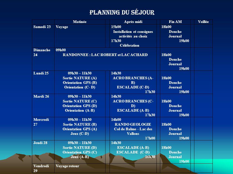 Planning du séjour MatinéeAprès midiFin AMVeillée Samedi 23Voyage15h00 Installation et consignes activités au choix 17h30 Célébration 18h00 Douche Jou