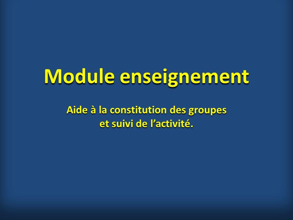 Module enseignement Aide à la constitution des groupes et suivi de l'activité.