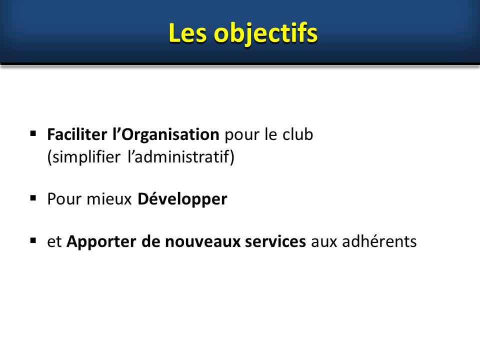  Faciliter l'Organisation pour le club (simplifier l'administratif)  Pour mieux Développer  et Apporter de nouveaux services aux adhérents