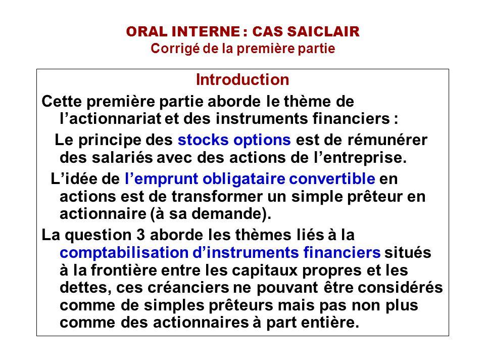 ORAL INTERNE : CAS SAICLAIR Corrigé de la première partie Introduction Cette première partie aborde le thème de l'actionnariat et des instruments fina