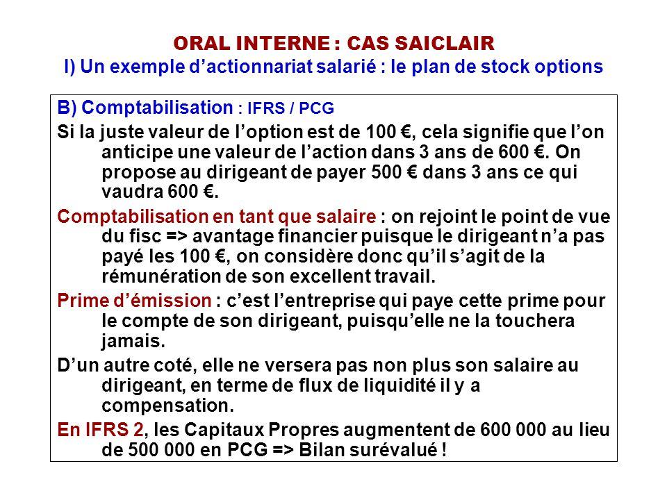 ORAL INTERNE : CAS SAICLAIR I) Un exemple d'actionnariat salarié : le plan de stock options B) Comptabilisation : IFRS / PCG Si la juste valeur de l'o