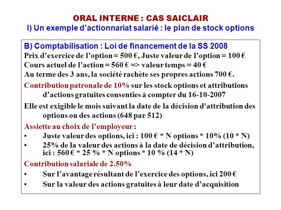 ORAL INTERNE : CAS SAICLAIR I) Un exemple d'actionnariat salarié : le plan de stock options B) Comptabilisation : Loi de financement de la SS 2008 Pri