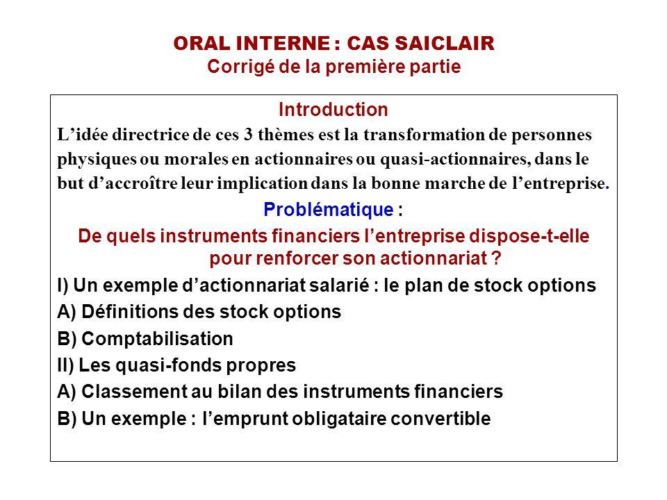 ORAL INTERNE : CAS SAICLAIR I) Un exemple d'actionnariat salarié : le plan de stock options A) Définitions des stock options Une option est le droit, conféré à une personne par une contrepartie, d acquérir un actif à une date future et à un prix déterminé.