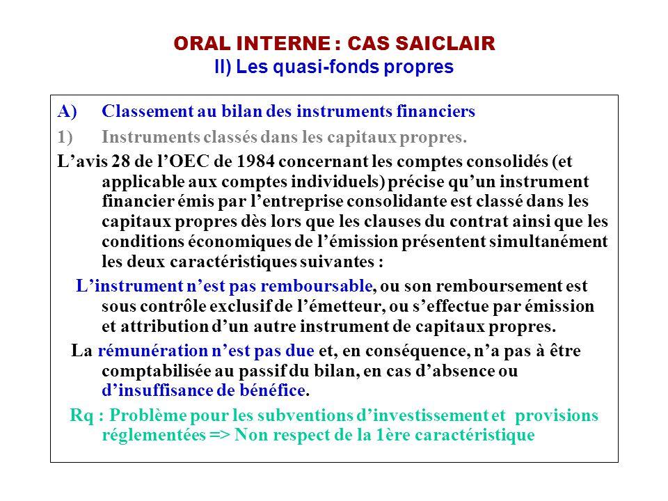 ORAL INTERNE : CAS SAICLAIR II) Les quasi-fonds propres A)Classement au bilan des instruments financiers 1)Instruments classés dans les capitaux propr
