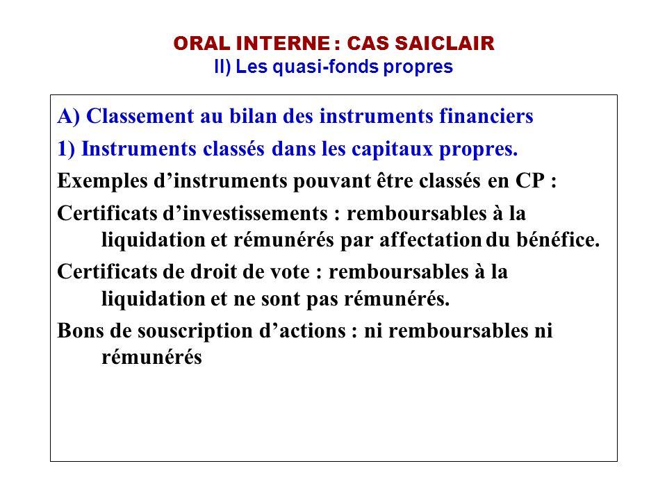 ORAL INTERNE : CAS SAICLAIR II) Les quasi-fonds propres A) Classement au bilan des instruments financiers 1) Instruments classés dans les capitaux pro