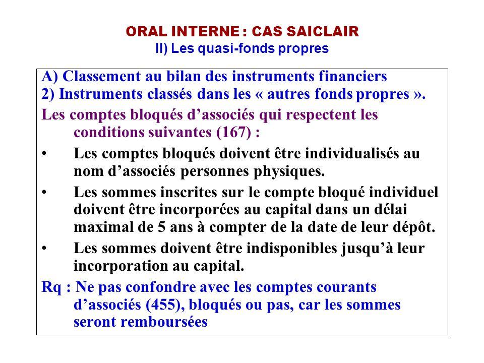 ORAL INTERNE : CAS SAICLAIR II) Les quasi-fonds propres A) Classement au bilan des instruments financiers 2) Instruments classés dans les « autres fon