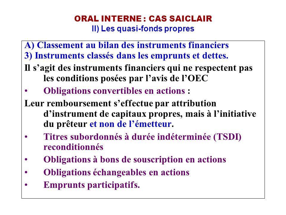 ORAL INTERNE : CAS SAICLAIR II) Les quasi-fonds propres A) Classement au bilan des instruments financiers 3) Instruments classés dans les emprunts et