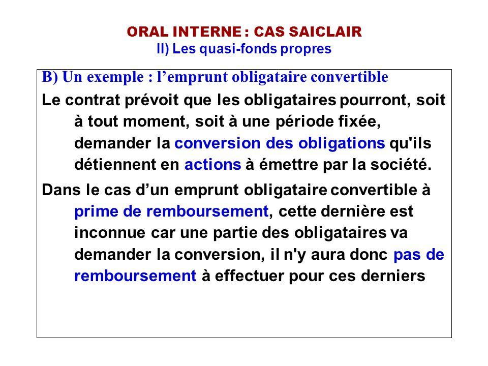 ORAL INTERNE : CAS SAICLAIR II) Les quasi-fonds propres B) Un exemple : l'emprunt obligataire convertible Le contrat prévoit que les obligataires pour