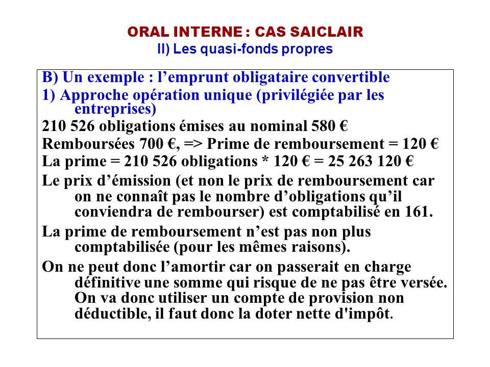 ORAL INTERNE : CAS SAICLAIR II) Les quasi-fonds propres B) Un exemple : l'emprunt obligataire convertible 1) Approche opération unique (privilégiée pa