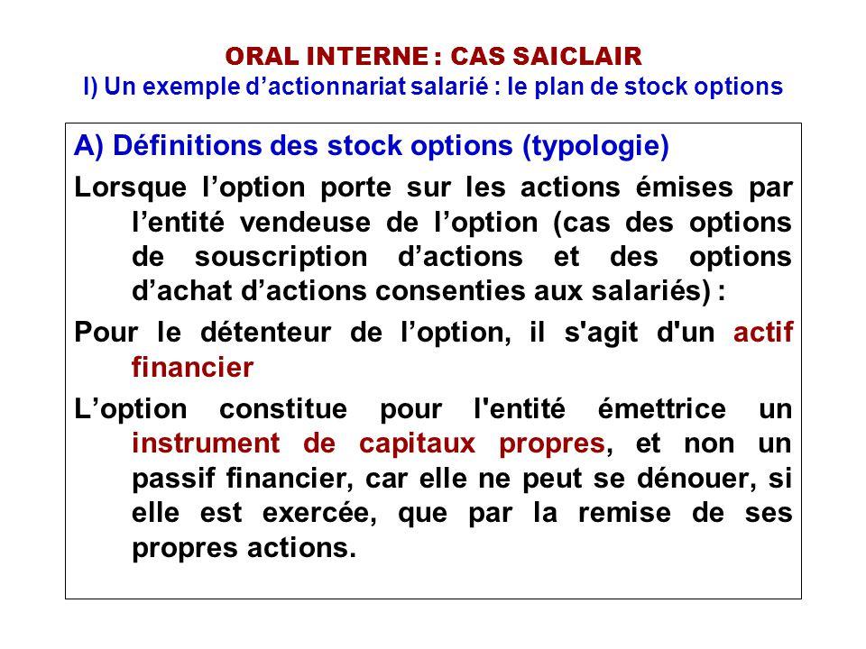 ORAL INTERNE : CAS SAICLAIR I) Un exemple d'actionnariat salarié : le plan de stock options A) Définitions des stock options (typologie) Une option de souscription d'actions est le droit consenti par une société d obtenir à une date future une action nouvelle en payant un prix fixé à l avance.