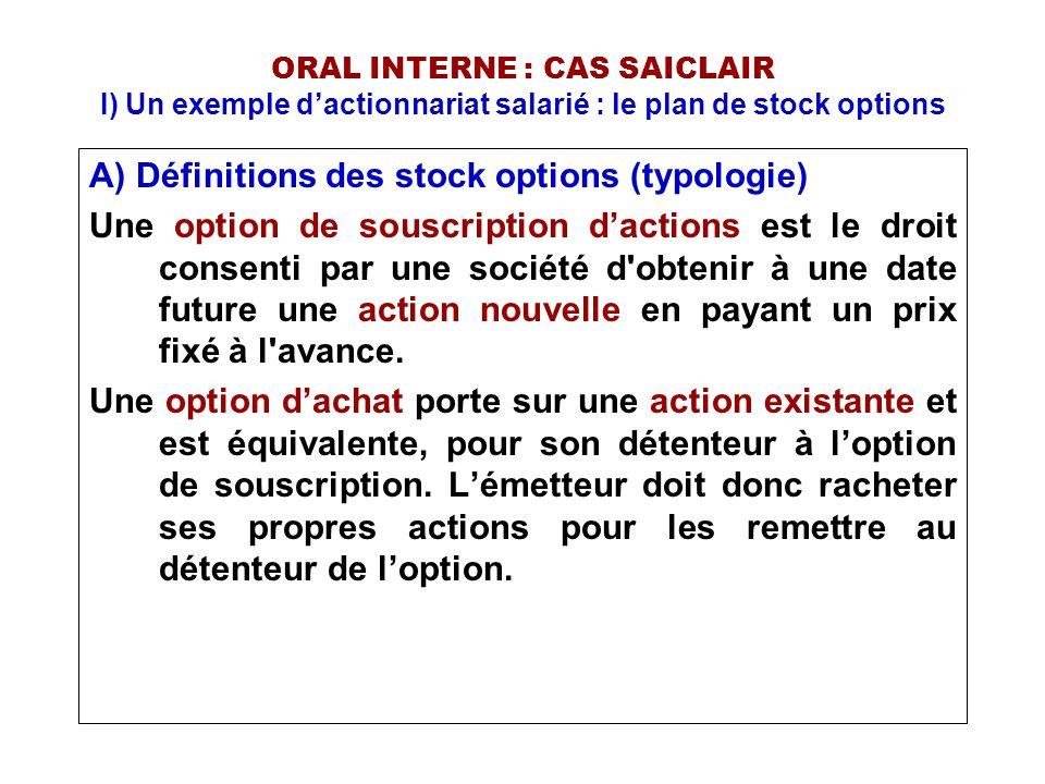 ORAL INTERNE : CAS SAICLAIR I) Un exemple d'actionnariat salarié : le plan de stock options A) Définitions des stock options (typologie) L'IASB ne fait aucune différence entre les options de souscription d'actions et les options d'achat d'actions, le terme utilisé étant stock-option.