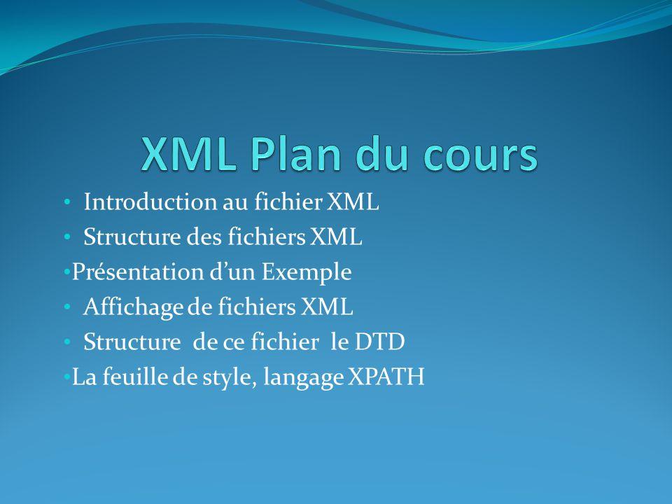• Introduction au fichier XML • Structure des fichiers XML • Présentation d'un Exemple • Affichage de fichiers XML • Structure de ce fichier le DTD •
