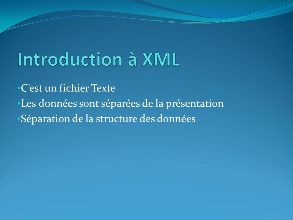 • C'est un fichier Texte • Les données sont séparées de la présentation • Séparation de la structure des données