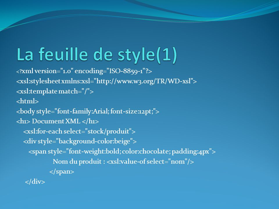 Document XML Nom du produit :