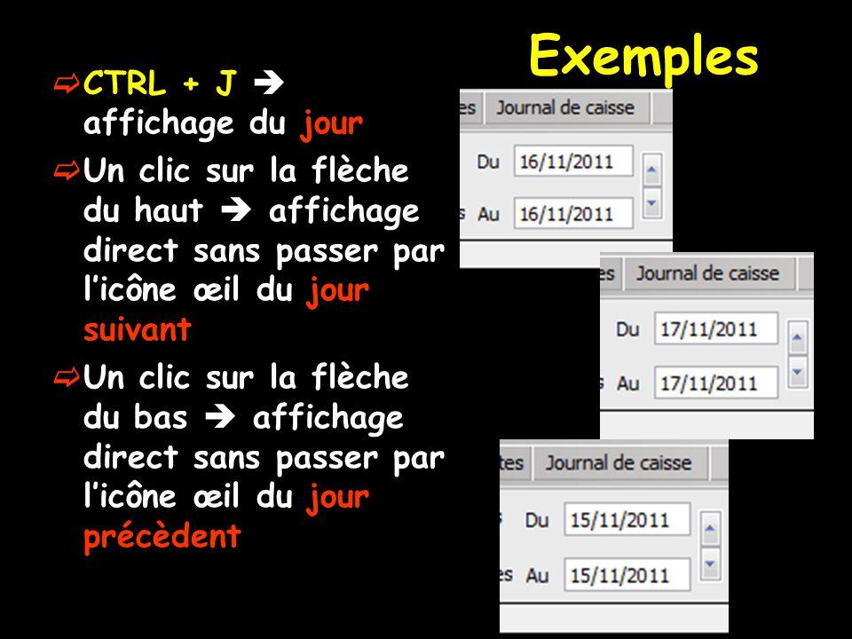 Exemples  CTRL + J  affichage du jour  Un clic sur la flèche du haut  affichage direct sans passer par l'icône œil du jour suivant  Un clic sur l