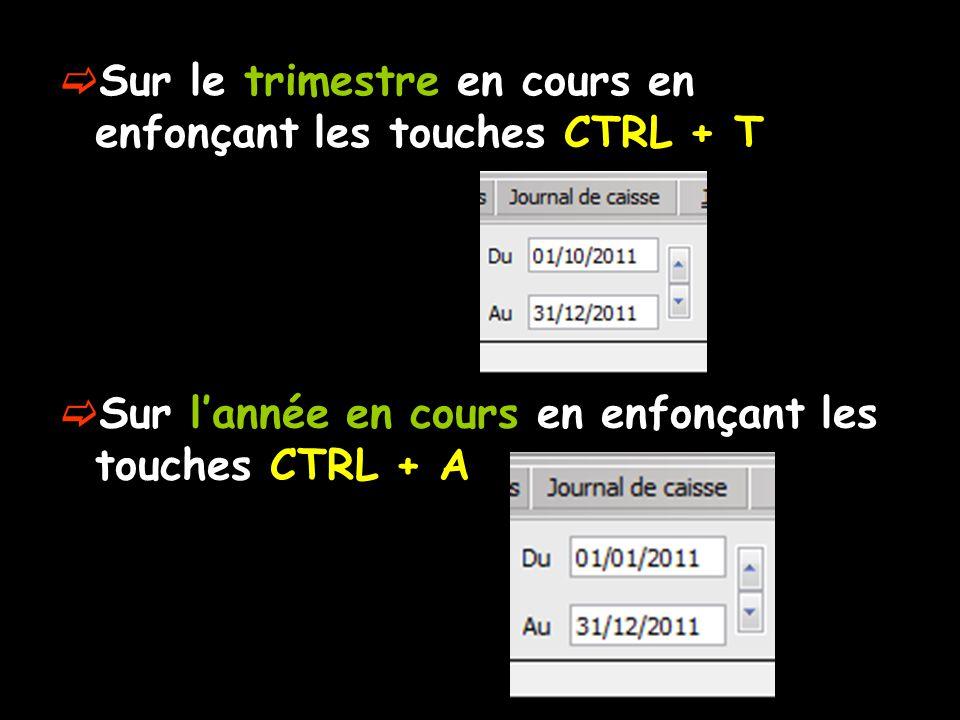  Sur le trimestre en cours en enfonçant les touches CTRL + T  Sur l'année en cours en enfonçant les touches CTRL + A