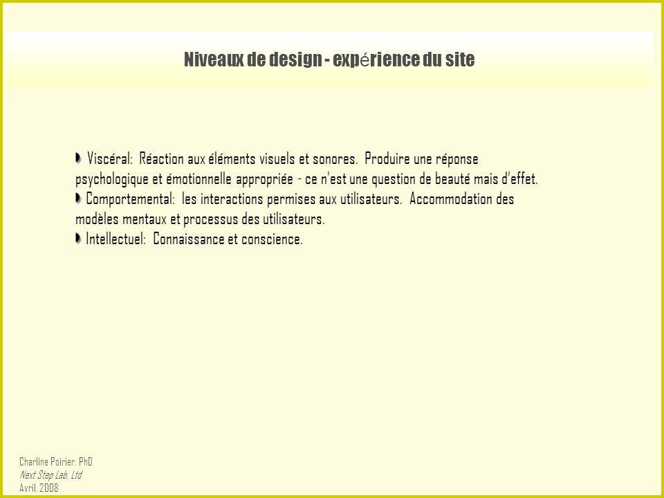 Niveaux de design - exp é rience du site Viscéral: Réaction aux éléments visuels et sonores.
