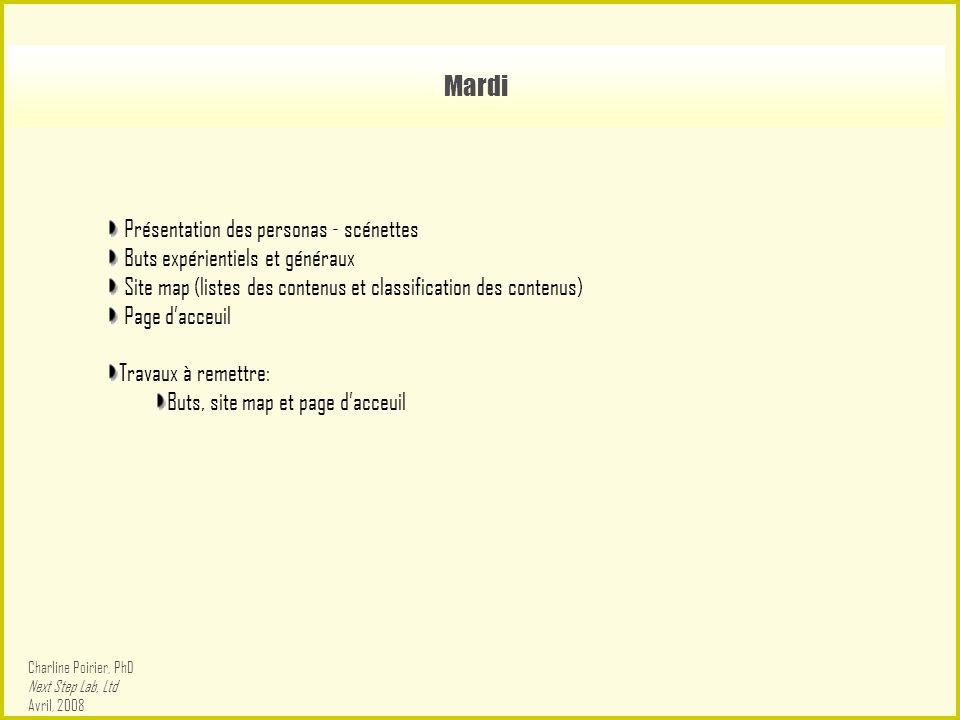 Mardi Présentation des personas - scénettes Buts expérientiels et généraux Site map (listes des contenus et classification des contenus) Page d'acceuil Travaux à remettre: Buts, site map et page d'acceuil Charline Poirier, PhD Next Step Lab, Ltd Avril, 2008