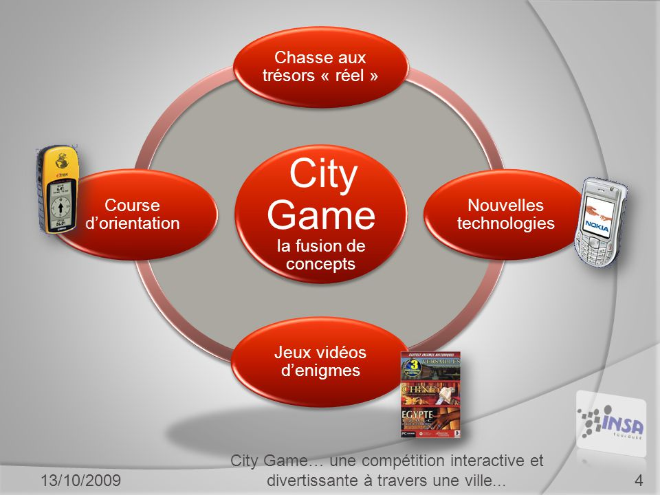 City Game la fusion de concepts Chasse aux trésors « réel » Nouvelles technologies Jeux vidéos d'enigmes Course d'orientation 13/10/2009 City Game… une compétition interactive et divertissante à travers une ville...4
