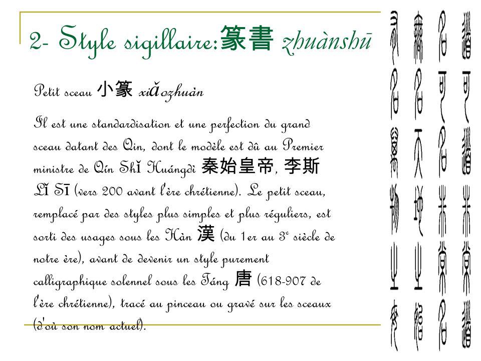 2- Style sigillaire: 篆書 zhuànshū Petit sceau 小篆 xi ǎ ozhuàn Il est une standardisation et une perfection du grand sceau datant des Qin, dont le modèle