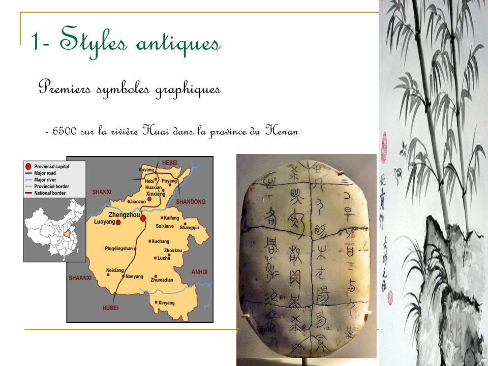 1- Styles antiques Premiers symboles graphiques - 6500 sur la rivière Huai dans la province du Henan