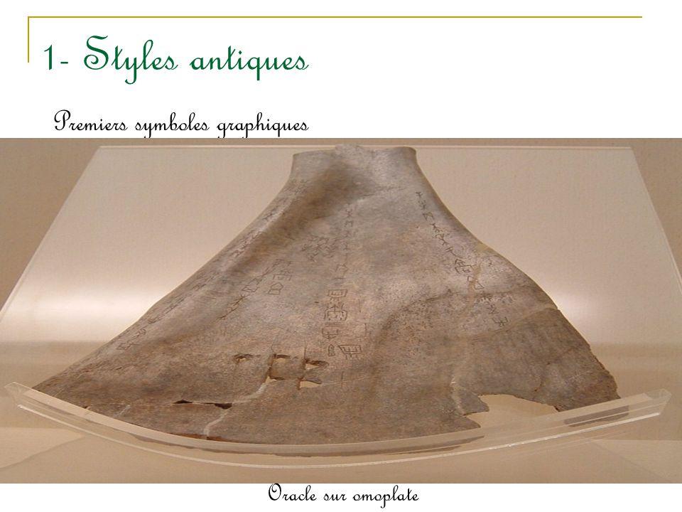 1- Styles antiques Premiers symboles graphiques - 2500 et -1900 sur le site Longshan dans la province de Shandong