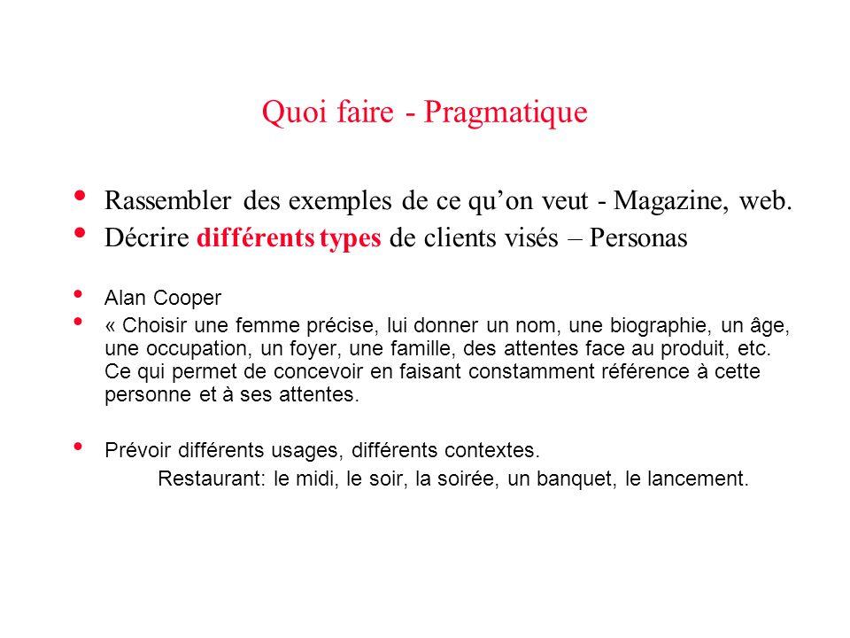 Quoi faire - Pragmatique • Rassembler des exemples de ce qu'on veut - Magazine, web.