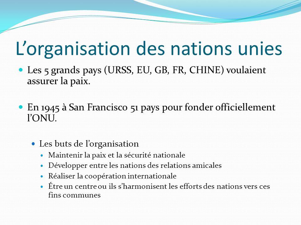 L'ONU maintenant…  150 pays  L'Assemblée générale est l'organe principal des Nations Unis et chaque membre avec un siège et un vote.