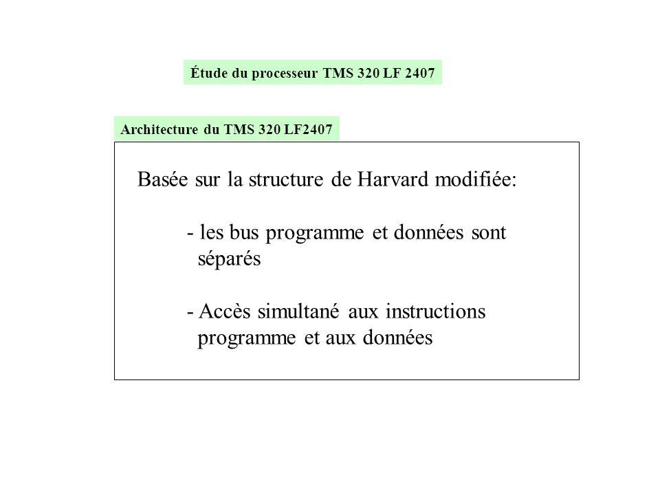 Basée sur la structure de Harvard modifiée: - les bus programme et données sont séparés - Accès simultané aux instructions programme et aux données Ar