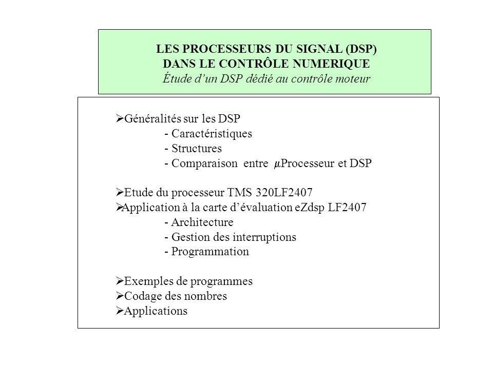  Généralités sur les DSP - Caractéristiques - Structures - Comparaison entre  Processeur et DSP  Etude du processeur TMS 320LF2407  Application à