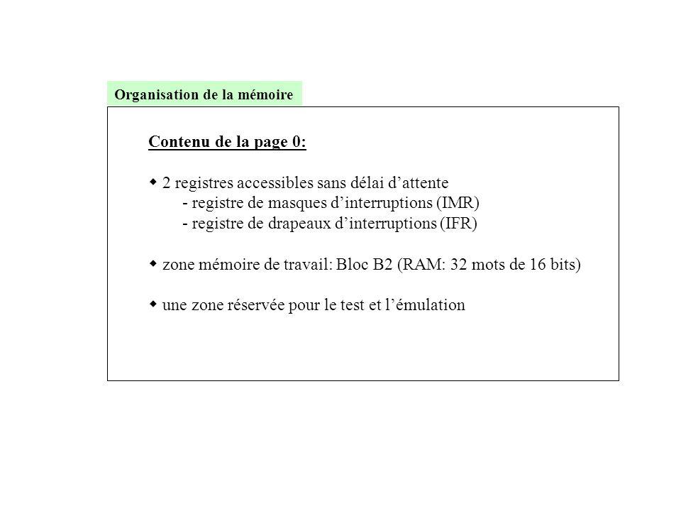 Contenu de la page 0:  2 registres accessibles sans délai d'attente - registre de masques d'interruptions (IMR) - registre de drapeaux d'interruption